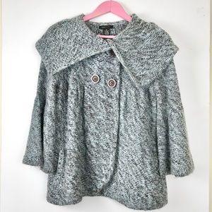 BCBG Black/Blue Double Breasted Knit Jacket | M